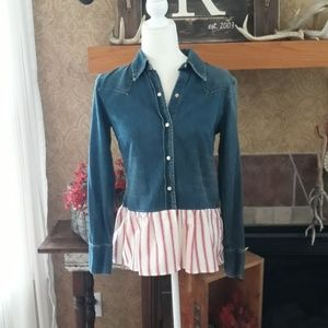 GAP Pearl Snap Upcycled Top with a Ruffle